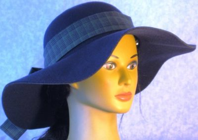 Hat Band in Navy Olive Plaid Shirting - right