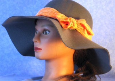 Hat Band in Orange Burnout with Silver Dots - left