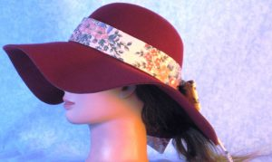 Hat Band in Pink Blue Flower Bouquet on Pink - left