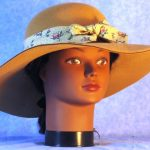 Hat Band in Pink Roses Basket on Cream - front 2