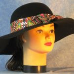 Hat Band in Pink Yellow Green Geometric With Dots - front