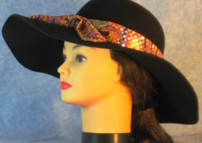Hat Band in Pink Yellow Green Geometric With Dots - left