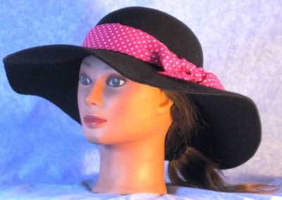 Hat Band in Pink with Small White Polka Dots - left