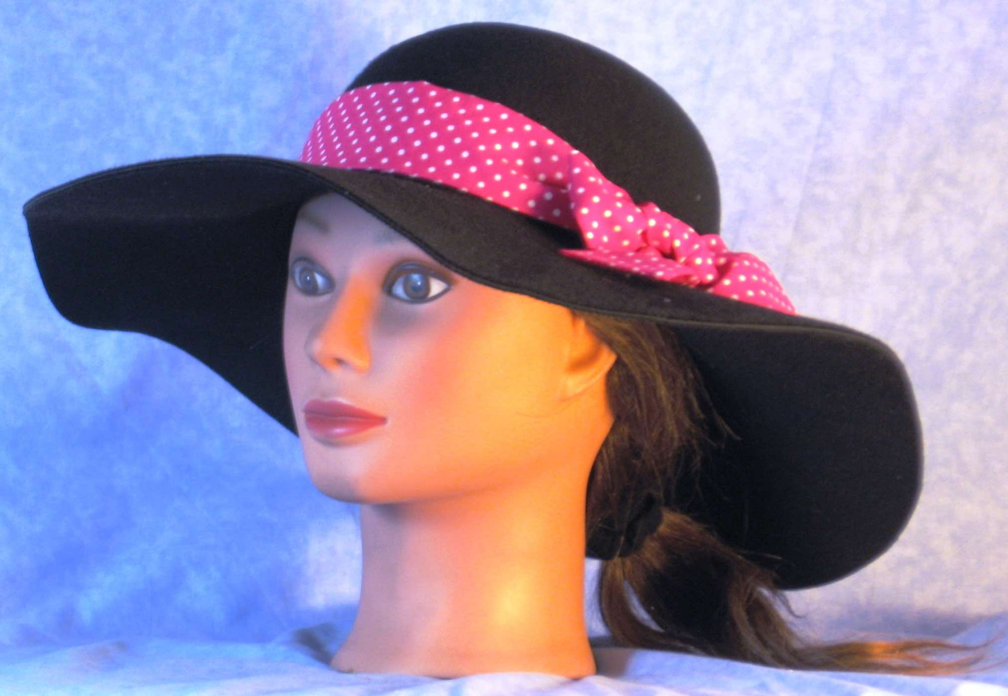 HatBand-Pink with Small White Polka Dots-left