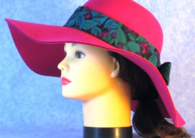 Hat Band in Purple Grapes Emerald Leaves - left