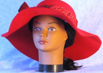 Hat Band in Red Black Plaid Paisley Stripe - front 1