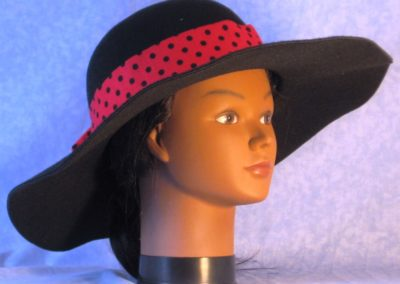 Hat Band in Rose Red with Black Polka Dots - right front