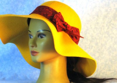 Hat Band in Rusty Red Black Check Gold Dot - front left