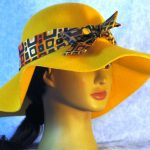Hat Band in Squares on Orange Red Gray with Gold - right front 1