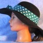Hat Band in Turquoise with White Polka Dots - left
