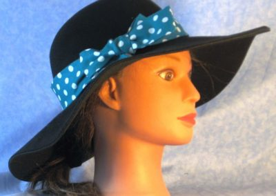 Hat Band in Turquoise with White Polka Dots - right