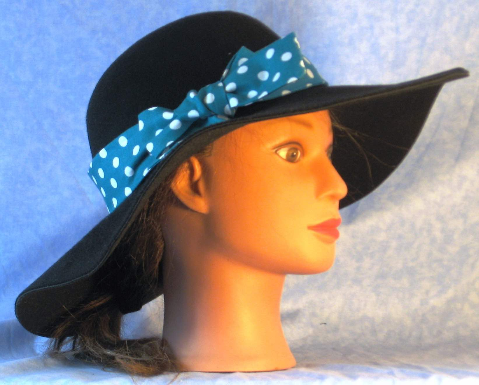 HatBand-Turquoise with White Polka Dots-right