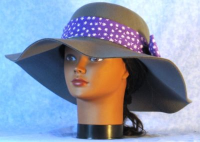 Hat Band in White Flower on Purple - front left