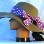Hat Band in White Flower on Purple - left