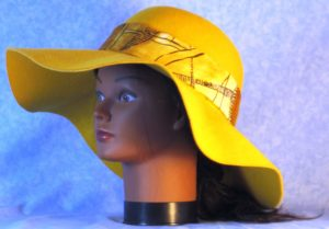 Hat Band in Yellow Cream with Black Lines - front left