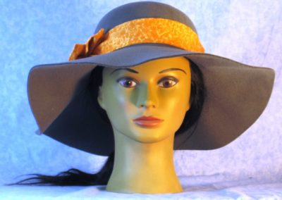 Hat Band in Yellow Orange Marble - front