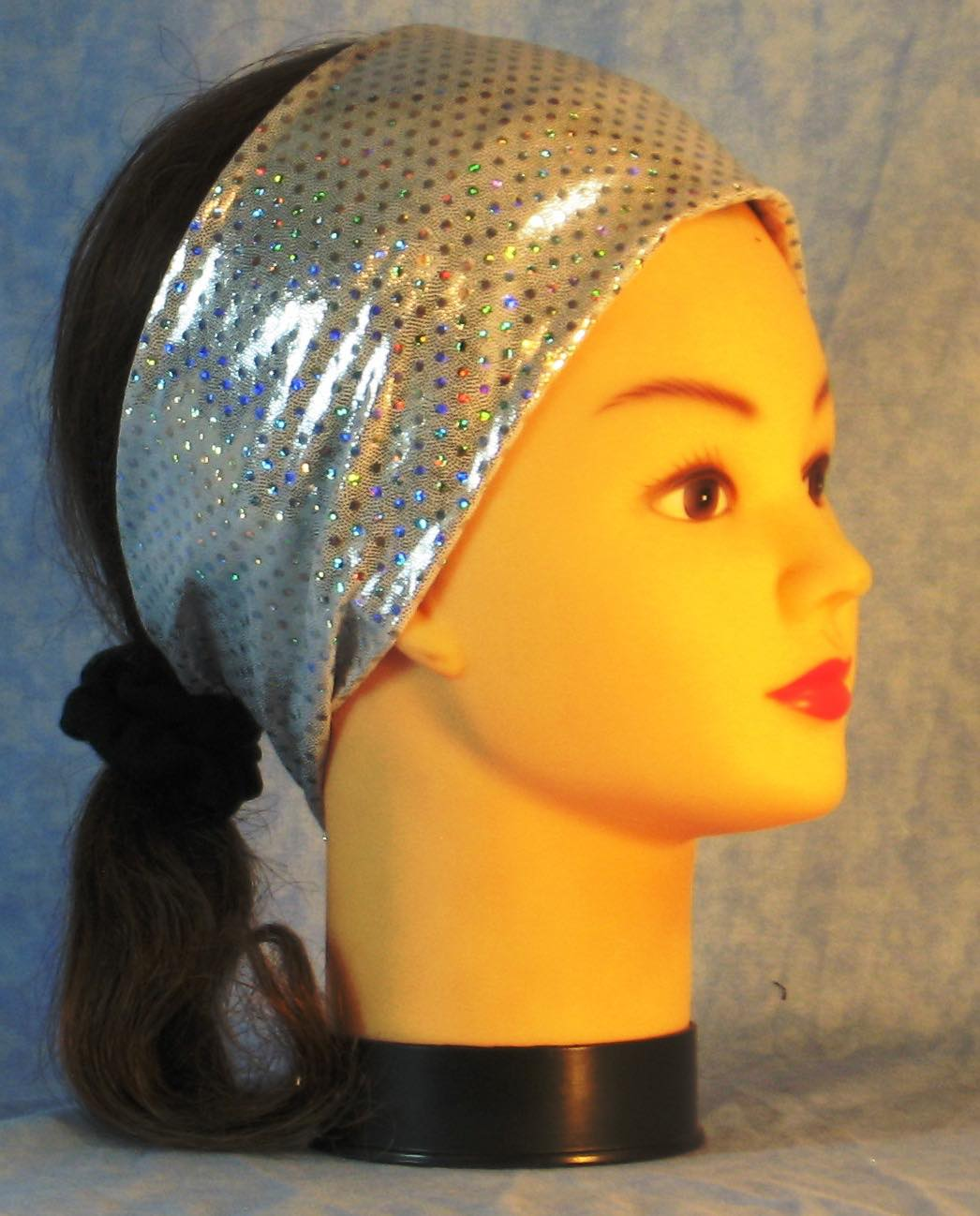 Headband-Silver Dots Sparkle Performance Knit-Youth S-M