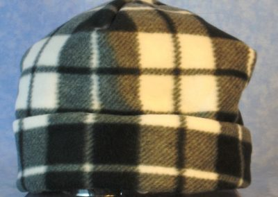 Fleece Long Hat in Black White Gray Plaid - rolled hat only
