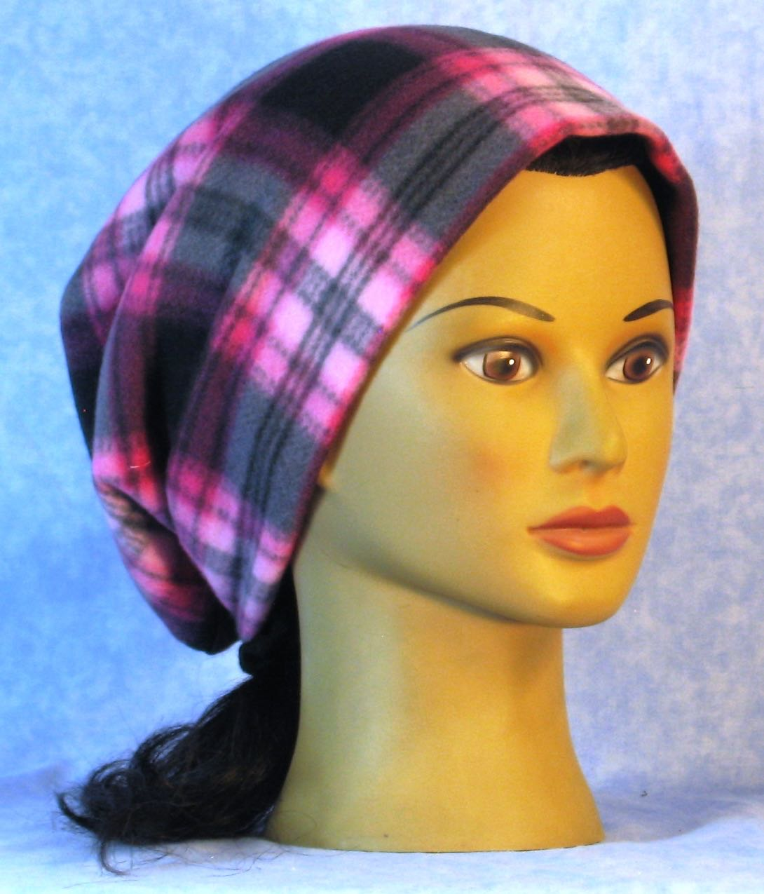 Long Hat in Pink Black Plaid-Adult 1XL