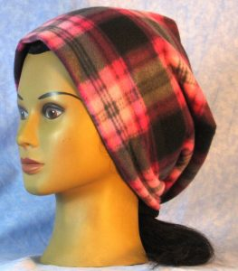 Fleece Long Hat in Pink Black Plaid - baggie left