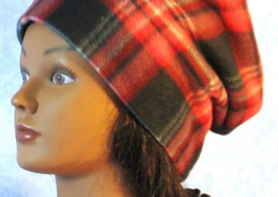 Fleece Long Hat in Red Black Plaid - baggie front left