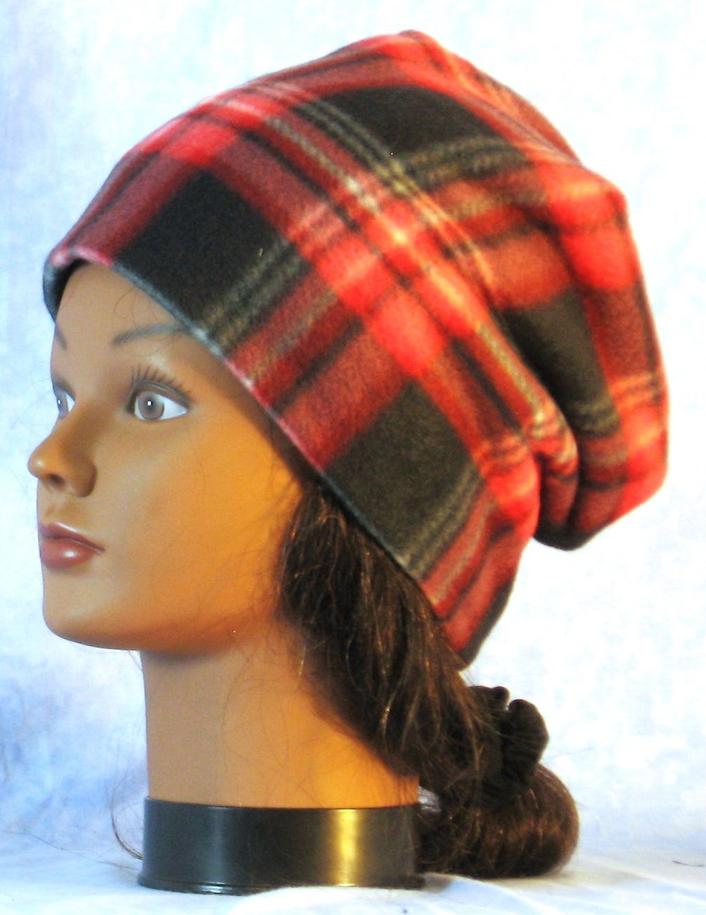 Long Hat in Red Black Plaid-Youth L-XL