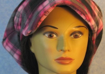 Newsboy Hat in Pink Black Plaid - front