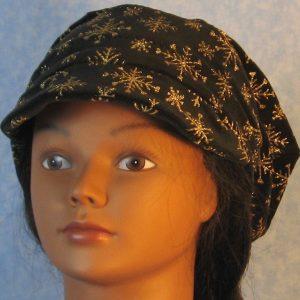 Newsboy Hat in Snowflake Black Velvet - front
