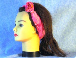 Wrap in Pink Grass Yellow Ball - headband - left flower tie