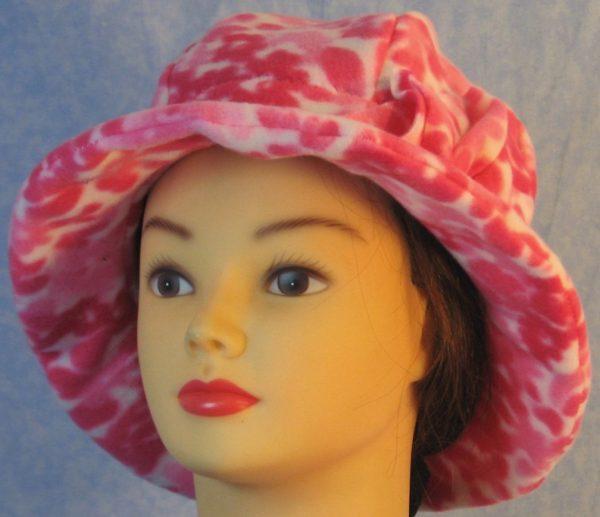 Cloche Hat in Pink Flower - front left