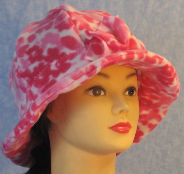 Cloche Hat in Pink Flower - front right