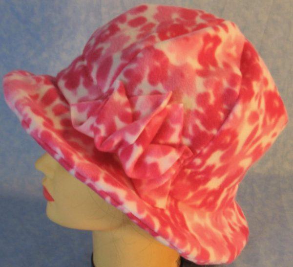 Cloche Hat in Pink Flower - left top