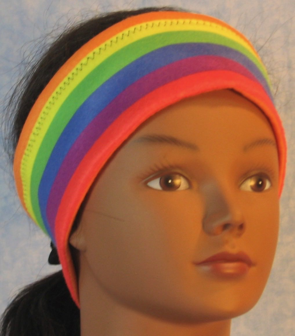 Ear Warmer in Rainbow Stripe-Adult M