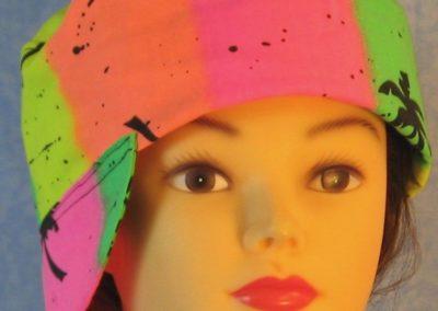 Welding Cap in Pink Yellow Palms Stripe - side front