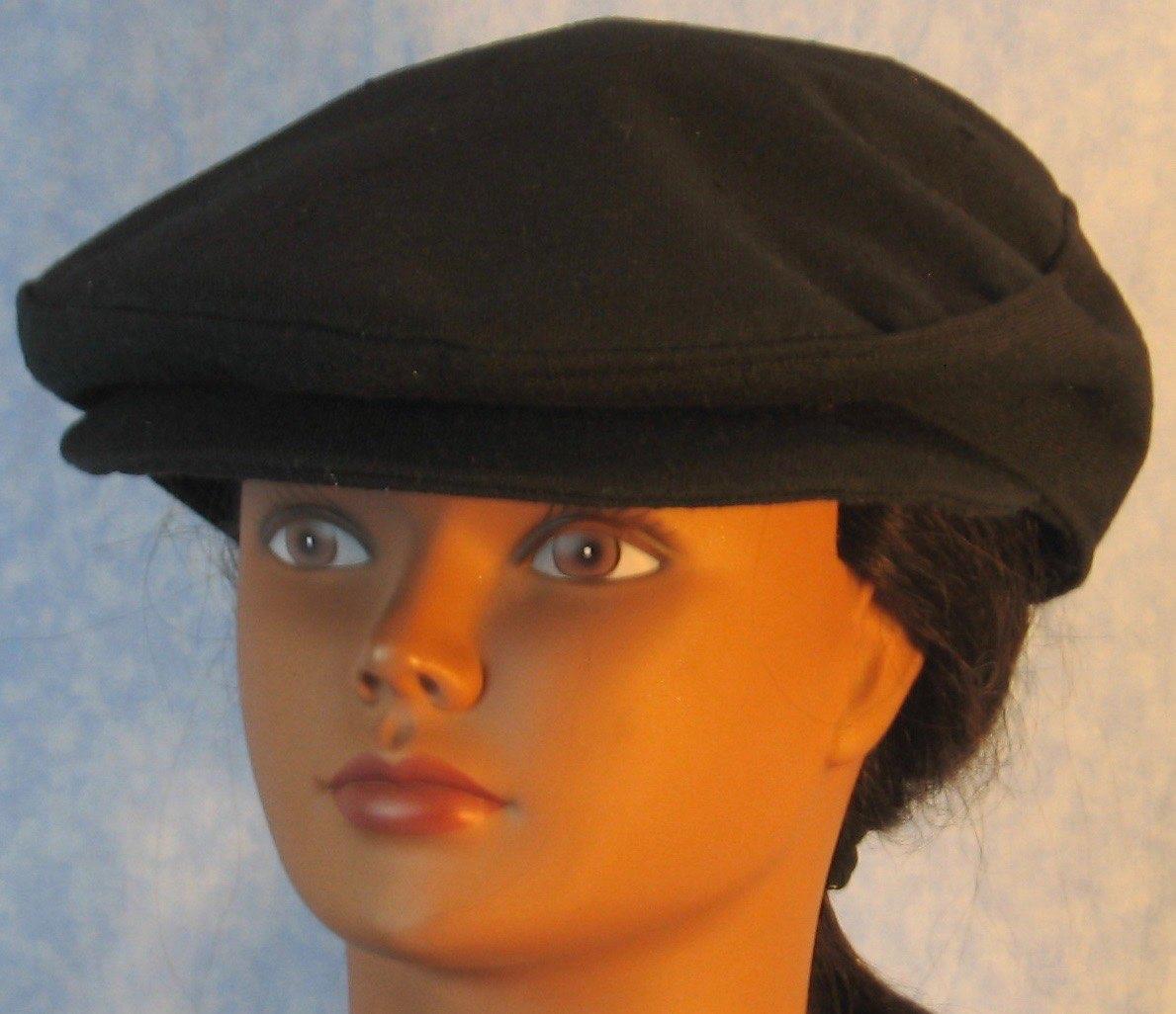 Flat Cap-Black Suiting-front