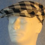 Flat Cap in Black White Check Big Flannel - front