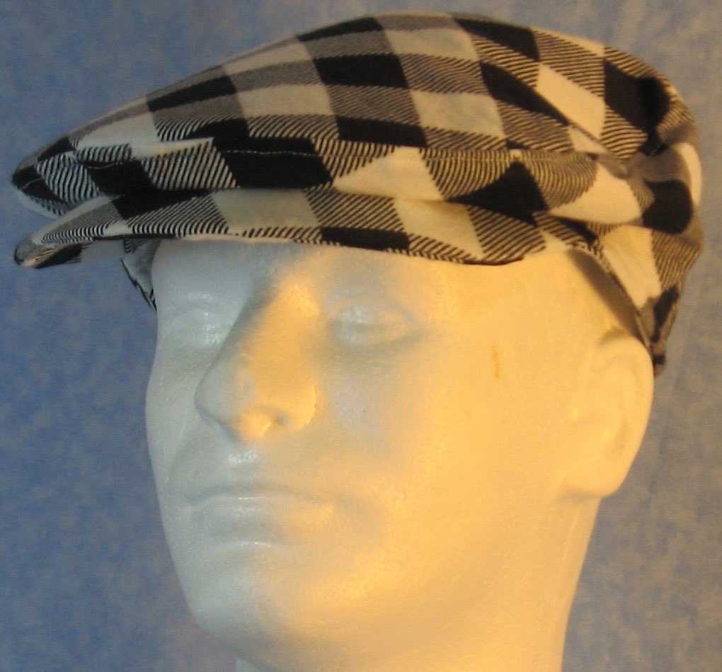 Flat Cap-Black White Check Big Flannel-front