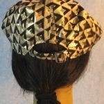 Flat Cap in Gold Black Diamond Brocade - back