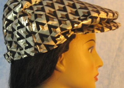 Flat Cap in Gold Black Diamond Brocade - right