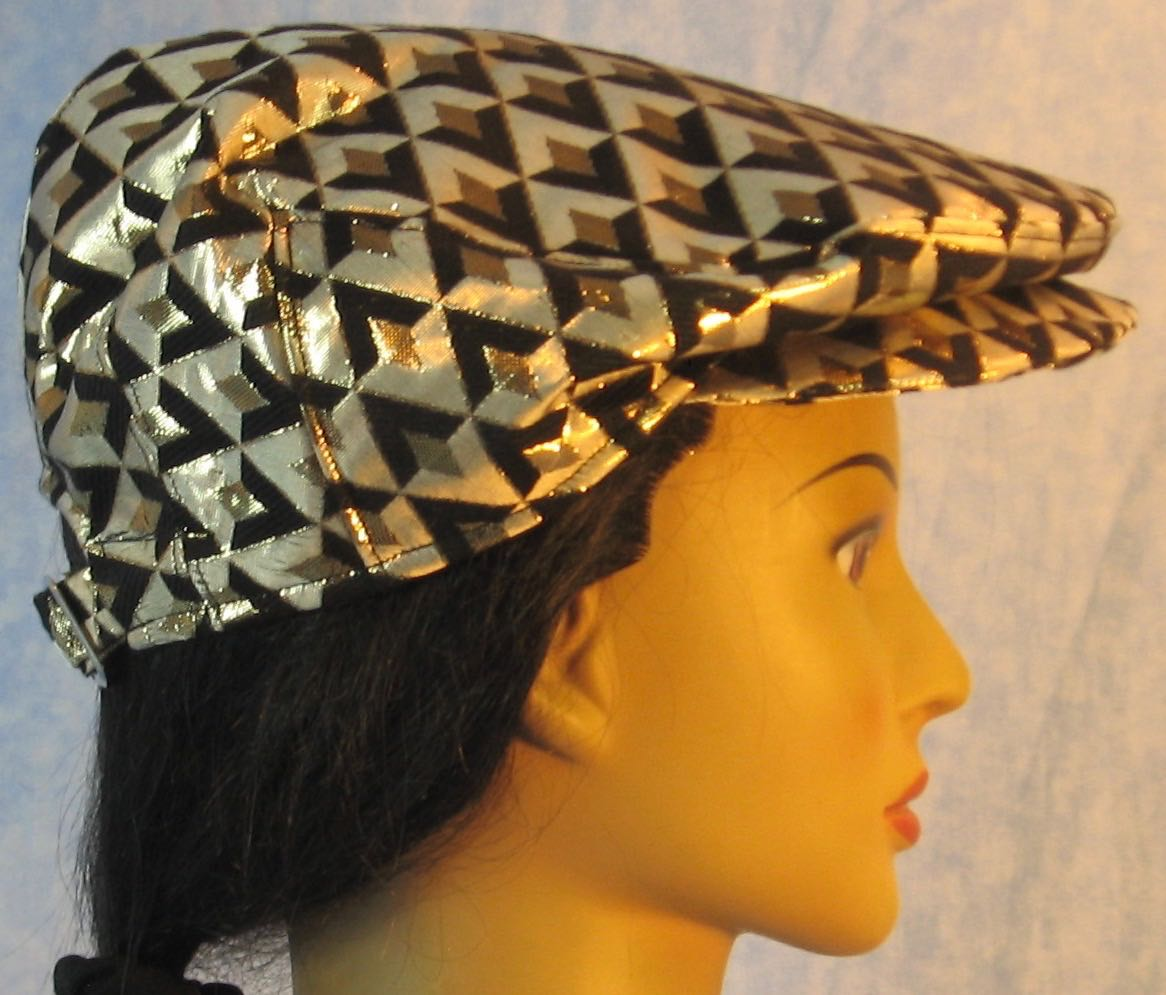 Flat Cap in Gold Black Diamond Brocade - Adult M-XL