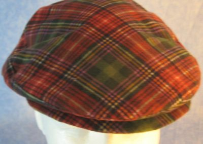Flat Cap in Green Red Purple Plaid Flannel - front top