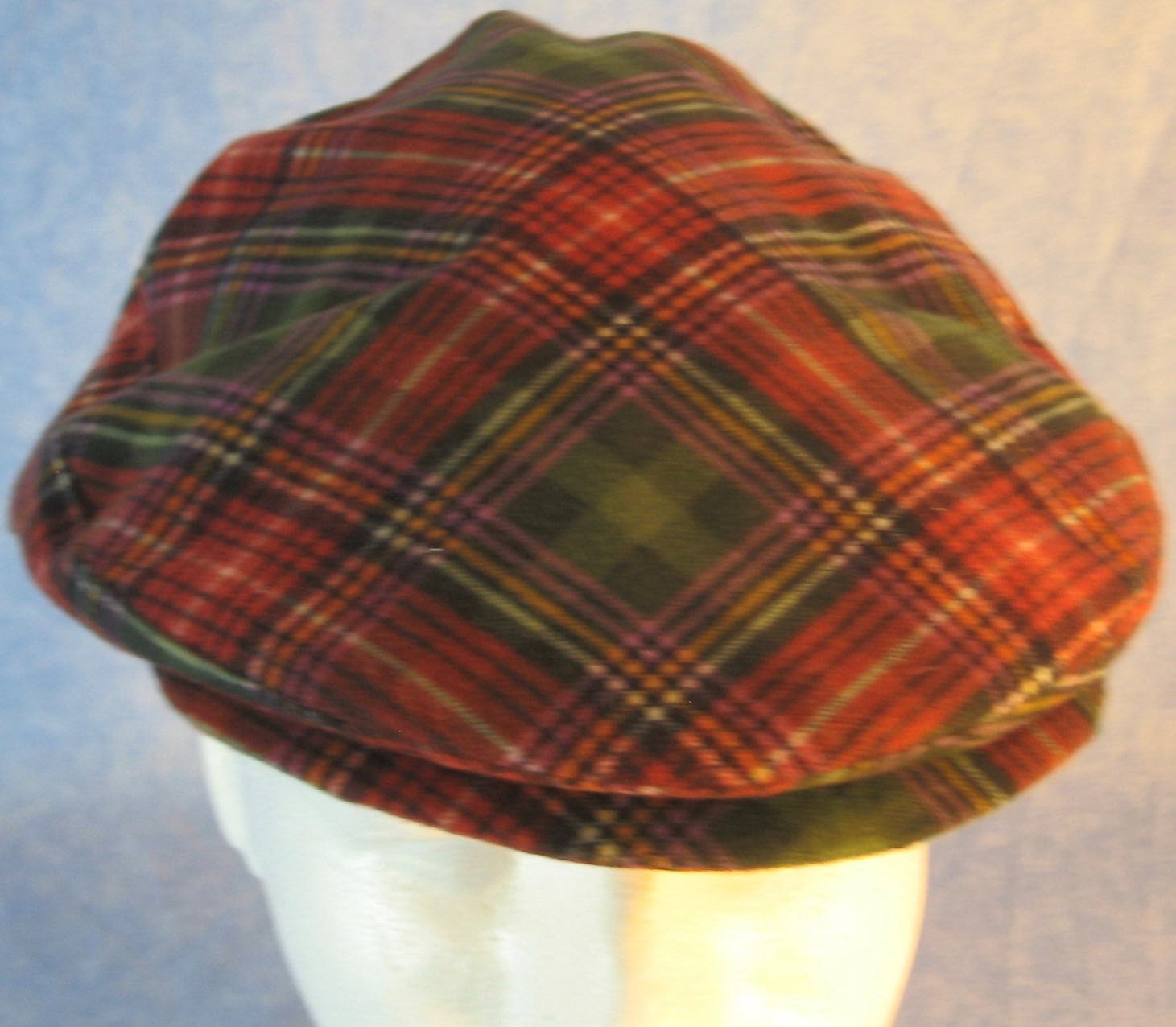 Flat Cap-Green Red Purple Plaid Flannel-fronttop