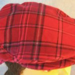 Flat Cap in Pink Lavender Plaid Flannel - front top