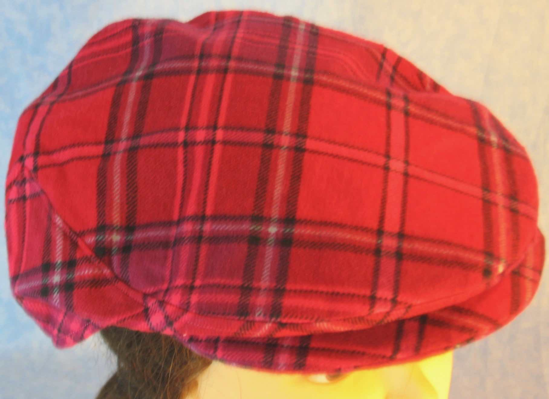 Flat Cap in Pink Lavender Plaid Flannel - Adult M-XL