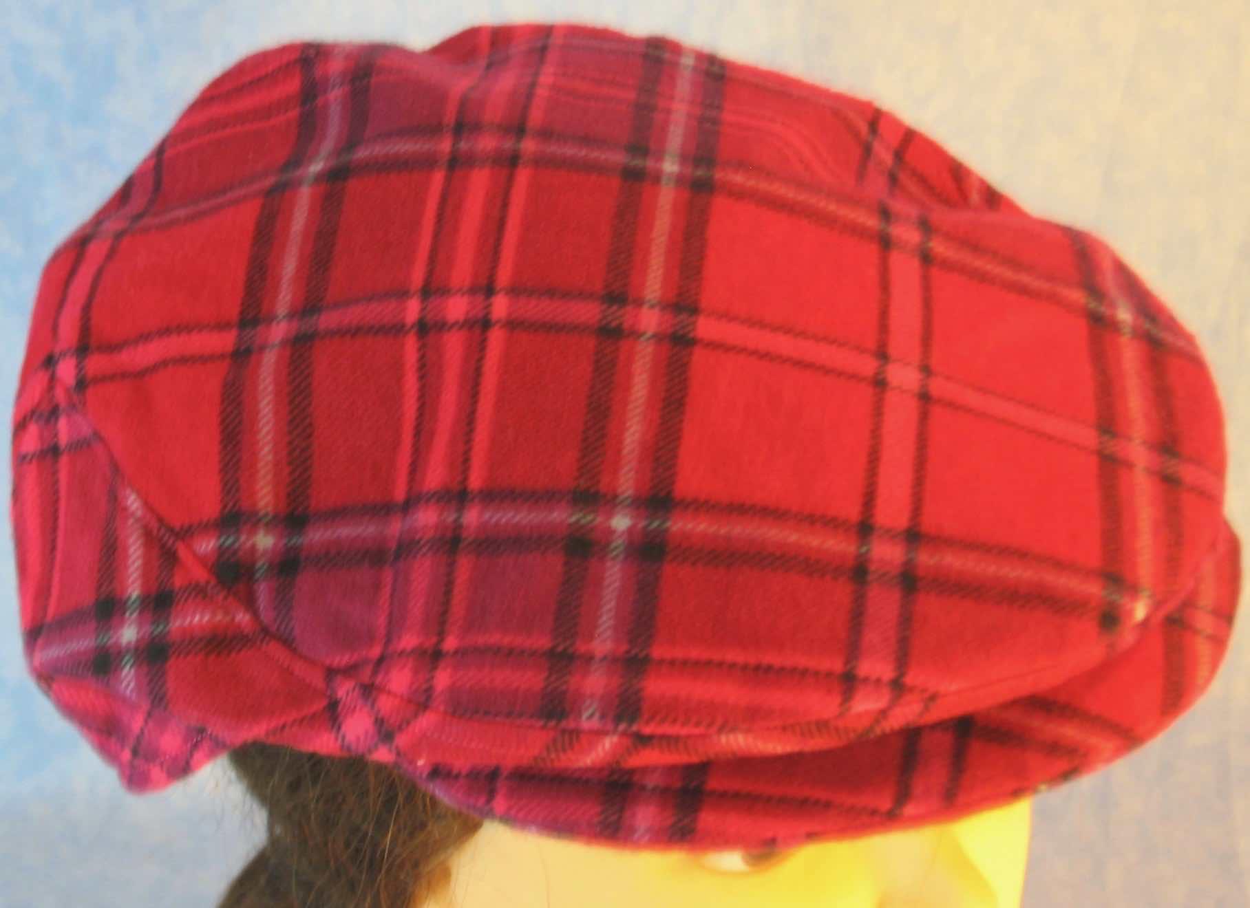 Flat Cap in Pink Lavender Plaid Flannel - Adult M-XL