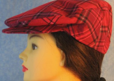 Flat Cap in Pink Lavender Plaid Flannel - left