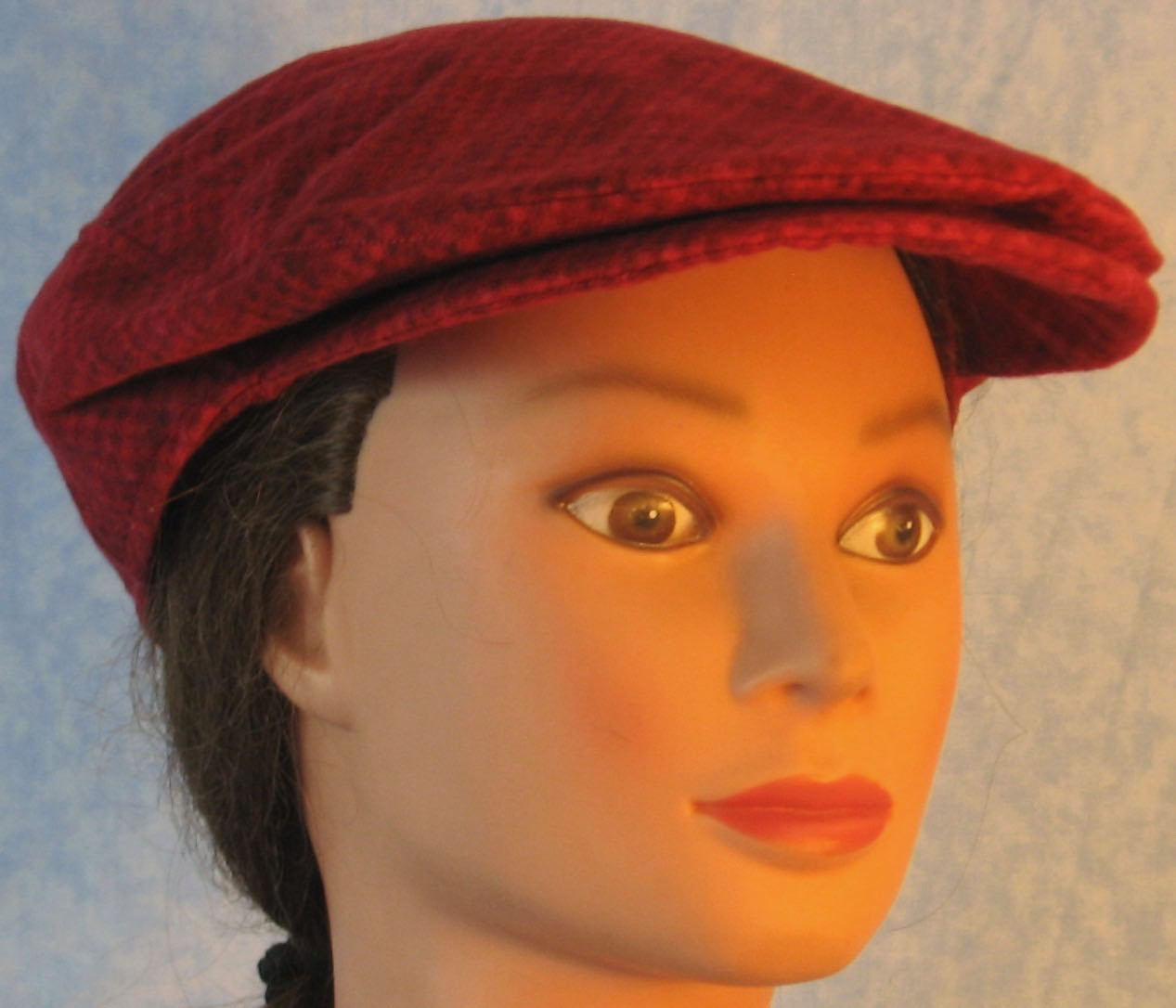 Flat Cap in Red Check Plaid Flannel - Adult M-XL