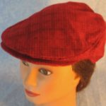 Flat Cap in Red Check Plaid Flannel - front top