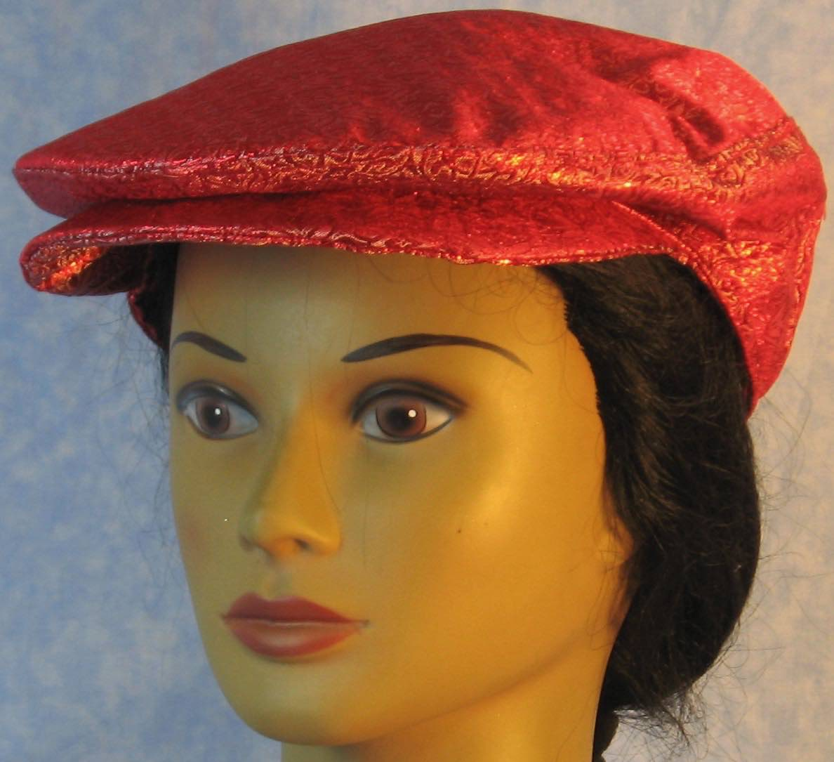 Flat Cap-Red White Medallion Brocade-front
