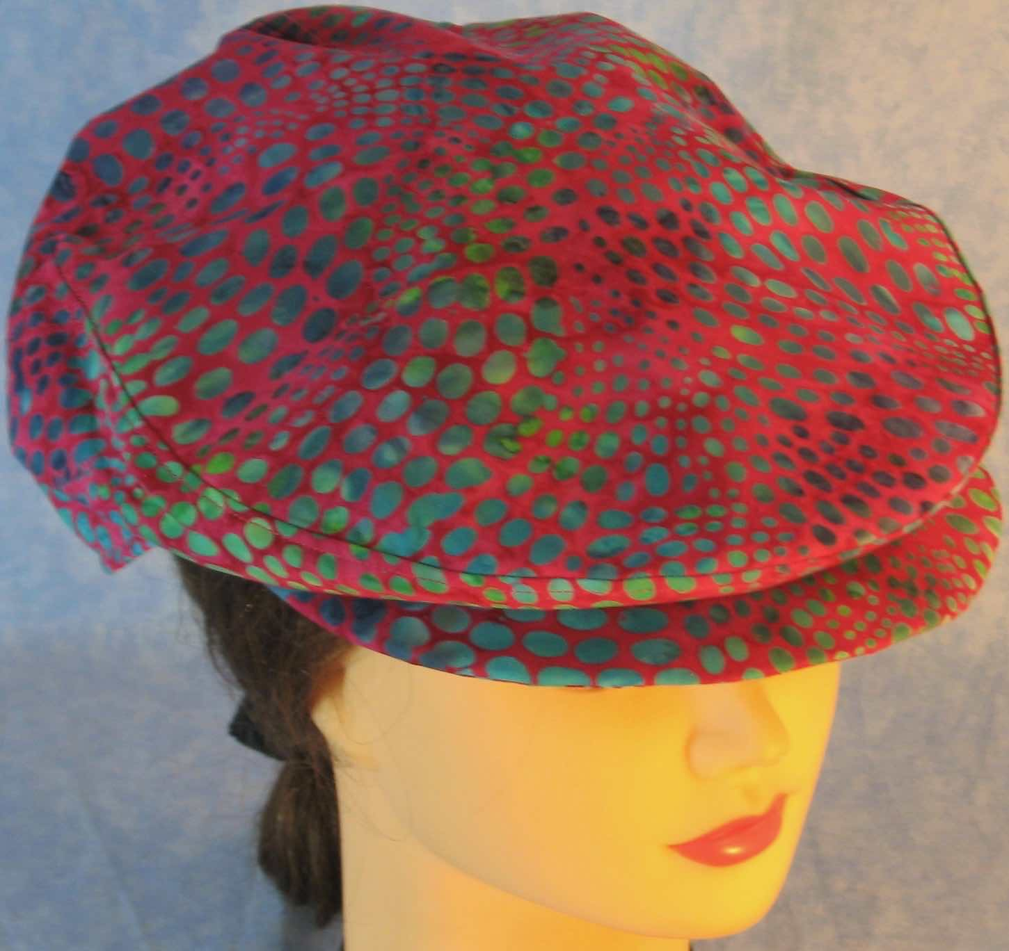 Flat Cap in Turquoise Green Dots on Pink Batik - Adult M-XL